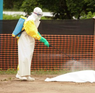 Medical workers are disinfecting the dead body of an Ebola patient.