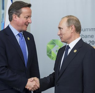 Russian President Vladimir Putin, right, and Prime Minister of the United Kingdom of Great Britain and Northern Ireland David Cameron