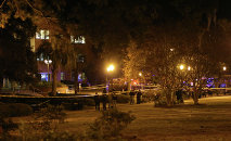 Police investigate a shooting scene at Strozier Library on Florida State campus on Thursday, November 20, 2014, in Tallahassee, Fla