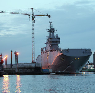 The Vladivostok Mistral-class helicopter carrier.