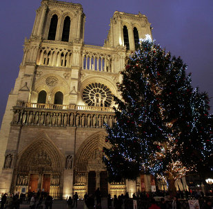 The lights of the Christmas tree purchased and set up in Paris with Moscow's help were switched on Saturday.
