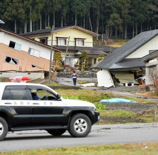 Houses damaged by an earthquake are seen in Hakuba town, Nagano prefecture, in this photo taken by Kyodo November 23, 2014