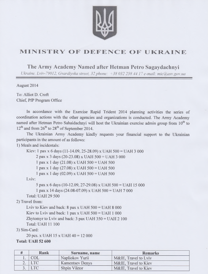 The Army Academy Named After Hetman Petro Sagaydachnyi asks to cover exercise expenditures for meals and incidentals of eleven officers and one civilian