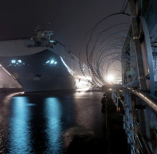 The Vladivostok amphibious assault ship of the Mistral class at the STX Europe shipyard in Saint-Nazaire.