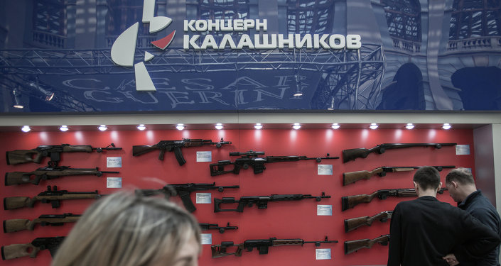 Stand of Kalashnikov Concern at 'Weapons and Hunting' excibition un Moscow.
