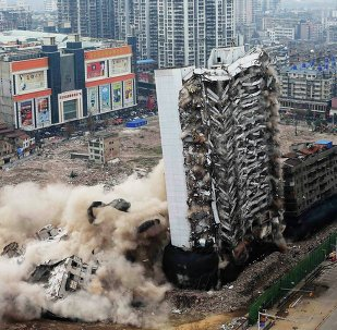 Yinfeng Hotel collapses as it is being demolished by explosives in Wuhan, Hubei province