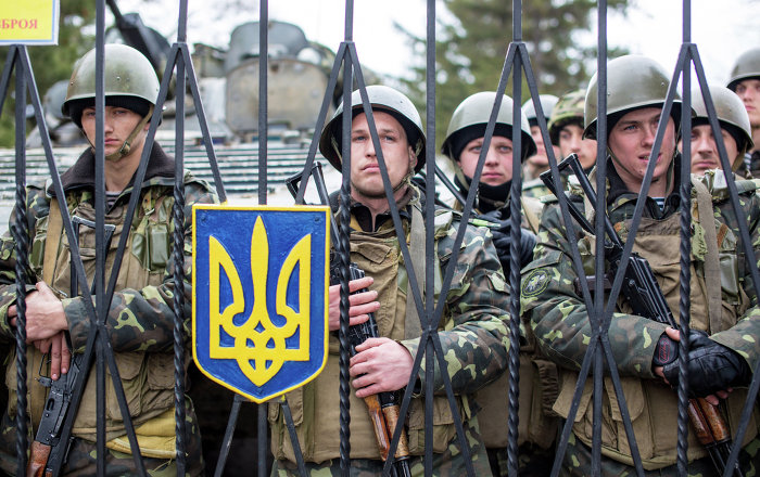 A group of Ukrainian soldiers at a military base