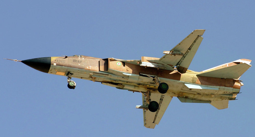 A Sukhoi Su-24MK of IRIAF flighting over Shahid Dastghaib International Airport.