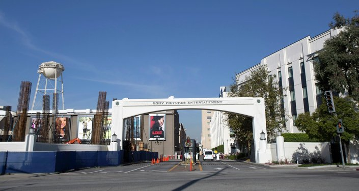 An entrance gate to Sony Pictures Studios is pictured in Culver City, California