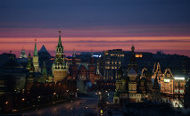 A view at the Moscow Kremlin, Historical Museum, Red Square and Saint Basil's Cathedral.
