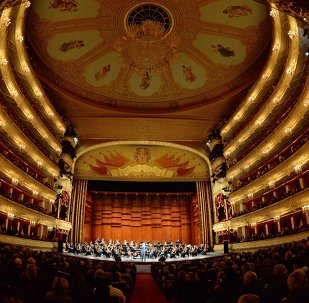 Picture shows an interior view of the Bolshoi Theatre of Russia in Moscow.