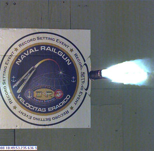 In this image, provided by the US Navy, a high-speed video camera captures a record-setting firing of an electromagnetic railgun, or EMRG, at the Naval Surface Warfare Center