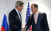 US Secretary of State John Kerry (L) and Russian Foreign Minister Sergei Lavrov shake hands during a bilateral on the side line of an Organization for Security and Cooperation in Europe (OSCE) ministerial meeting on December 4, 2014