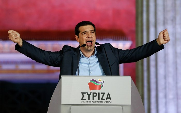 The head of radical leftist Syriza party Alexis Tsipras speaks to supporters after winning the elections in Athens January 25, 2015. Tsipras promised on Sunday that five years of austerity, humiliation and suffering imposed by international creditors were over after his Syriza party swept to victory in a snap election on Sunday.