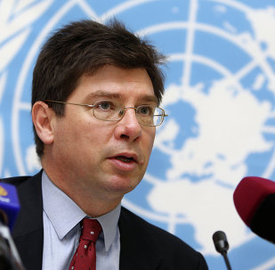 The United Nations Special Rapporteur on the human rights, Francois Crepeau attends a press conference in Doha on November 10, 2013