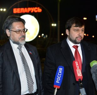 DPR and LPR representatives hold news conference at Minsk airport