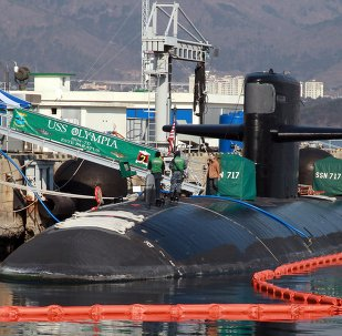 This picture taken on February 2, 2015 shows US submarine USS Olympia (SSN-717) mooring at a South Korean naval base in Changwon