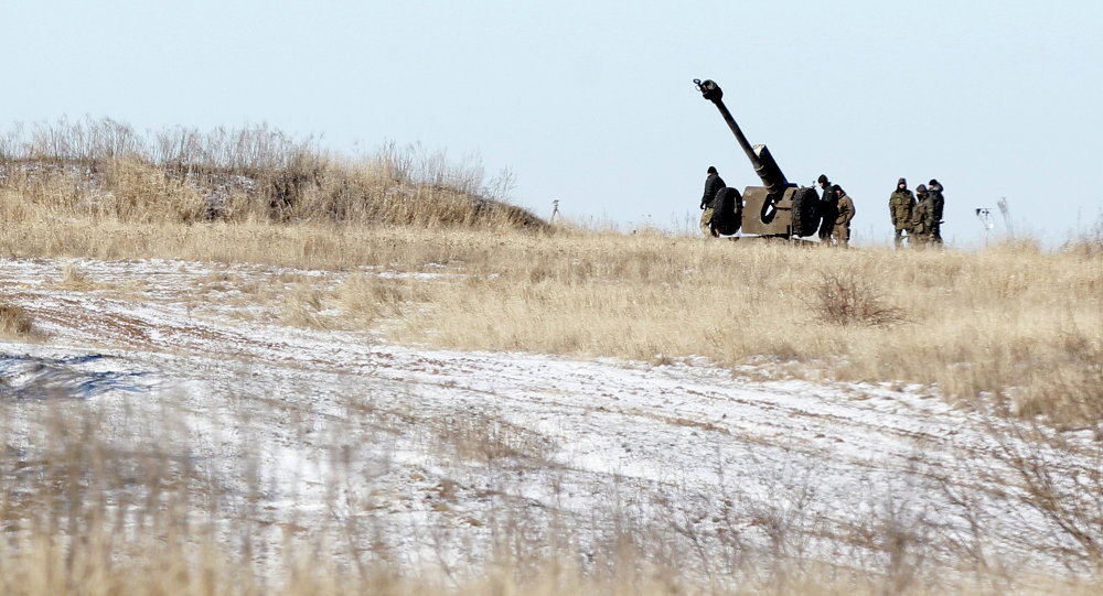 Ukrainian artillery is at a position some 20 kilometers (14 miles) north of Debaltseve, Ukraine, Tuesday, Feb. 17, 2015