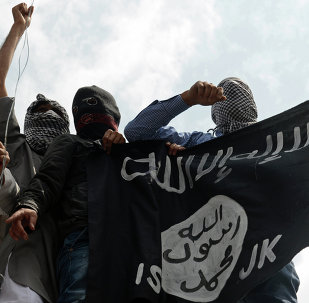 Kashmiri demonstrators hold up a flag of the Islamic State of Iraq and the Levant (ISIL) during a demonstration against Israeli military operations in Gaza