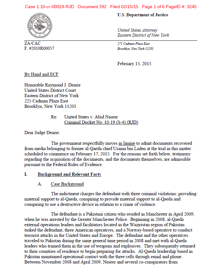 A document released by DoJ containing photos of internal al-Qaeda correspondence presented as evidence at the trial of Abid Naseer