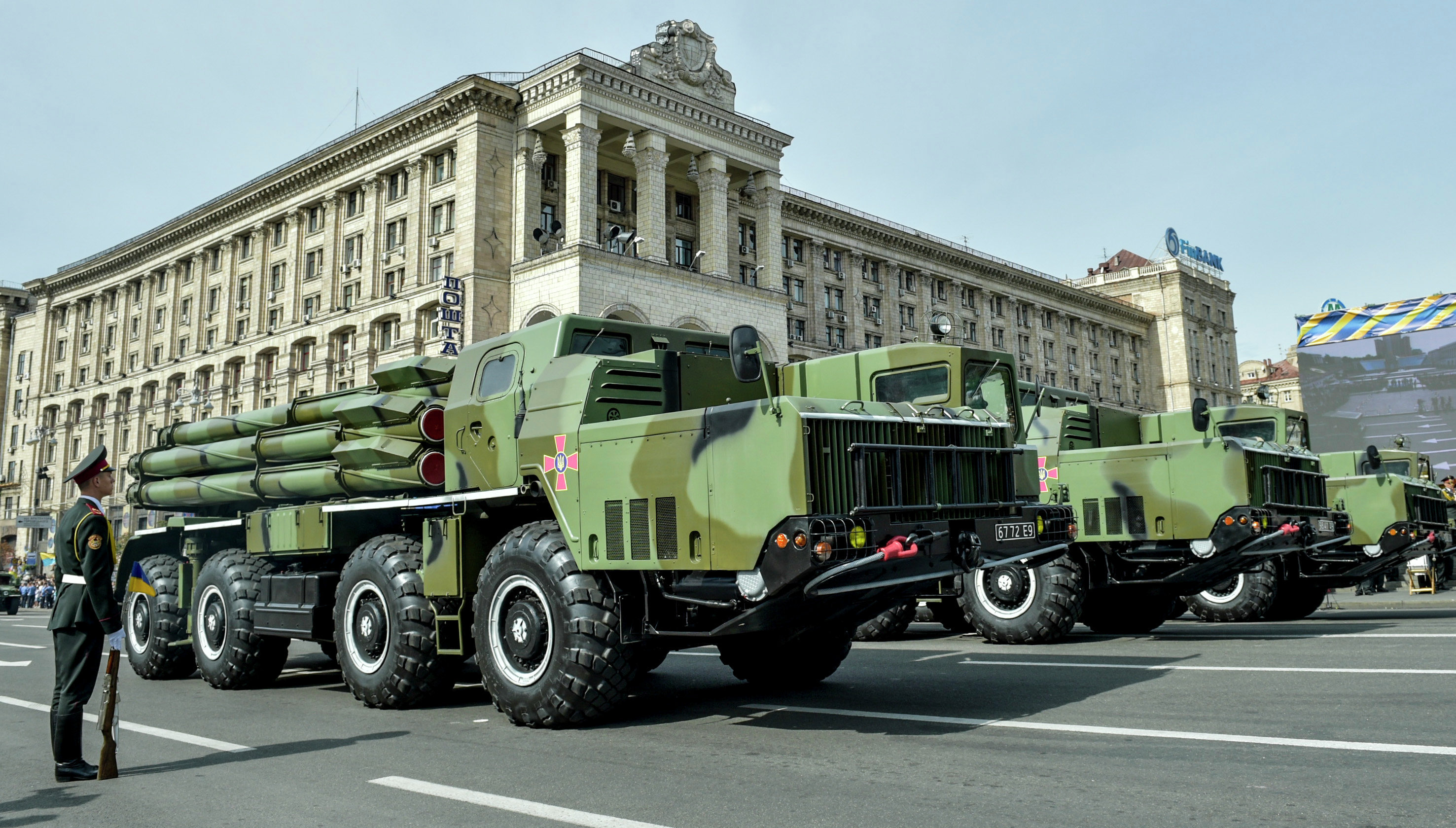 Military equipment of the Ukrainian Armed Forces parades through Khreshchatyk Street in Kiev during Ukrainian Independence Day celebrations