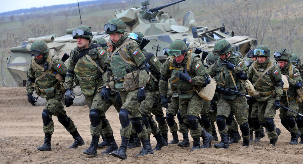 Russian military troops take part in a military drill on Sernovodsky polygon close to the Chechnya border