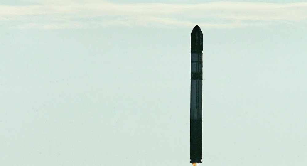 Launching RS-20 intercontinental ballistic missile