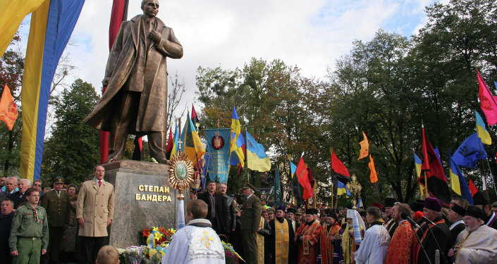 Unveiling a monument to Stepan Bandera in Lviv