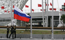 Hoisting the Russian flag