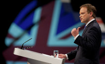 Conservative party chairman Grant Shapps opens Britain's Conservative Party Conference, Manchester, England