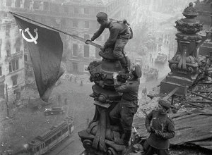 World War II, 1941 - 1945. The Victory Banner over Reichstag, Berlin. May 1, 1945.