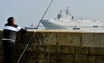 Sebastopol mistral warship is on its way for its first sea trials, on March 16, 2015 off Saint-Nazaire
