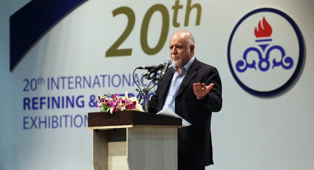 Iranian Oil Minister, Bijan Namdar Zanganeh speaks on the opening of the annual International Oil, Gas, Refining & Petrochemical Exhibition on May 6, 2014 in Tehran