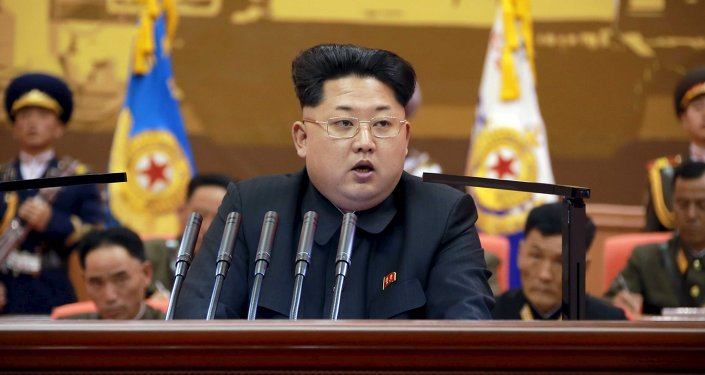 North Korean leader Kim Jong Un speaks during the 5th meeting of training officers of the Korean People's Army