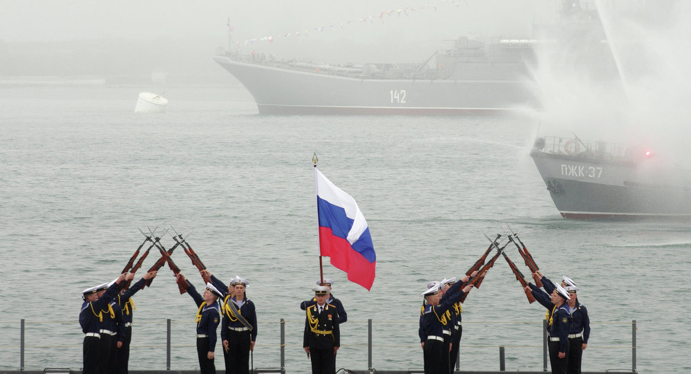 Navy men during the celebration of the Russian Black Sea Fleet's 230th anniversary in Sevastopol