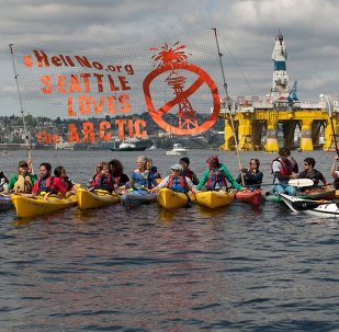 ShellNo flotilla protesters demonstrate in the Puget Sound against the arrival of the Shell Oil Company's drilling rig Polar Pioneer in Seattle, Washington, May 14, 2015