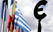 A Greek flag flies behind a statue to European unity outside the EU Parliament in Brussels, Belgium, May 20, 2015