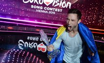 Mons Peter Albert Salen Selmerlew (Sweden) - the winner of the international song contest the Eurovision 2015 in Vienna