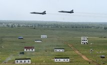 Airplanes during the practical stage of the exercises held by the Central Military District troops in the Chebarkul range in Chelyabinsk Region