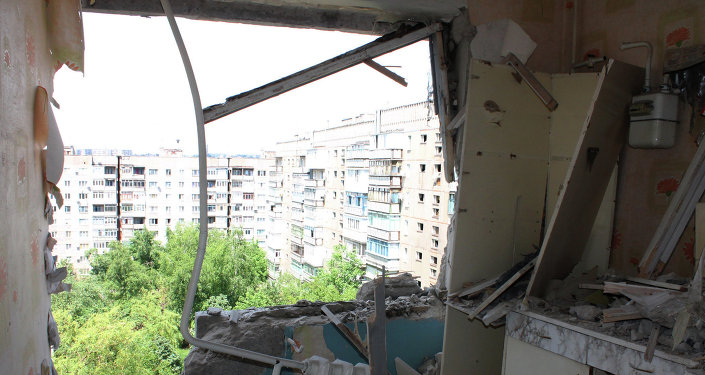 A destroyed apartment in a multiple occupancy building that was damaged during the shelling of Gorlovka in the Donetsk Region