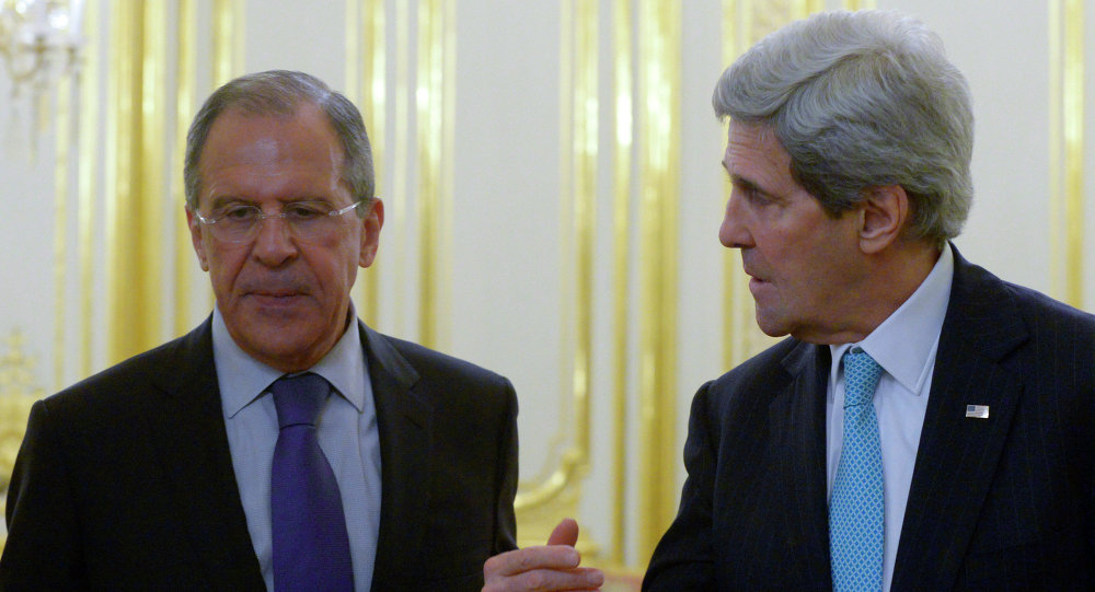 Russian Foreign Minister Sergei Lavrov, left, and US Secretary of State John Kerry