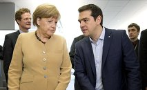 German federal chancellor Angela Merkel, talks with Greek prime minister Alexis Tsipras