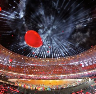 Fireworks explode over the stadium during the opening ceremony of the 2015 European Games in Baku, Azerbaijan, Friday, June 12, 2015