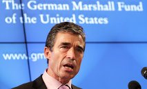 NATO Secretary General Anders Fogh Rasmussen addresses the audience at a meeting of the German Marshall Fund, in Brussels, Friday, Oct. 8, 2010.