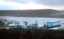A view of Faslane nuclear base, home to Trident nuclear submarines, in Scotland