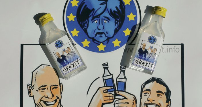 Samples of a sour vodka schnapps called Grexit, labelled with the caricatures of Greek Prime Minister Alexis Tsipras (R) and Finance Minister Yannis Varoufakis happily raising their glasses under a miserable-looking German Chancellor Angela Merkel