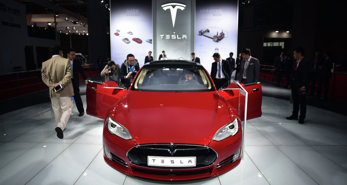 A Tesla Model S P85d car is displayed at the 16th Shanghai International Automobile Industry Exhibition in Shanghai on April 20, 2015