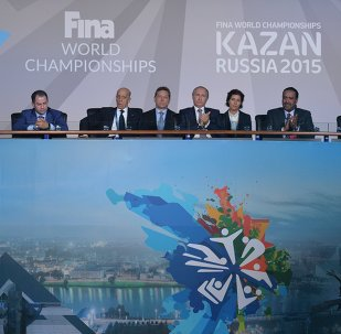 July 24, 2015. President Vladimir Putin (fifth left) at the opening ceremony of the 16th FINA World Championships in Kazan.