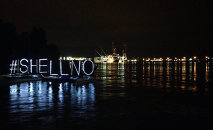 #sHellNo on water with Fennica in Portland.