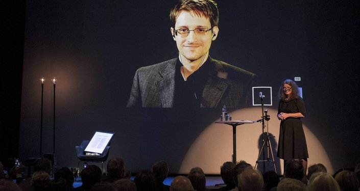 A chair is pictured on stage as former US National Security Agency contractor Edward Snowden.